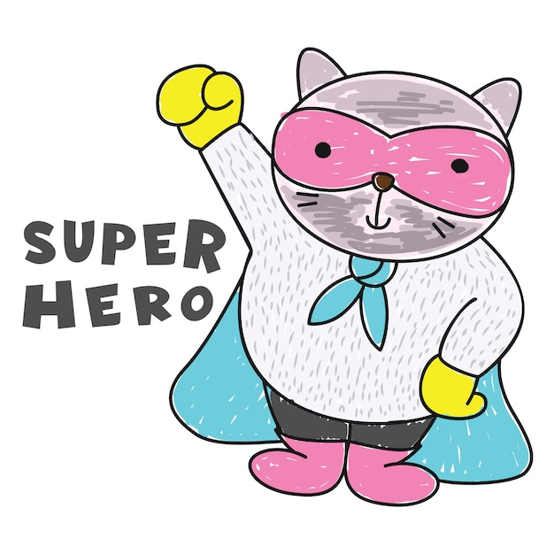 Cute cat superhero hand drawn Premium Vector
