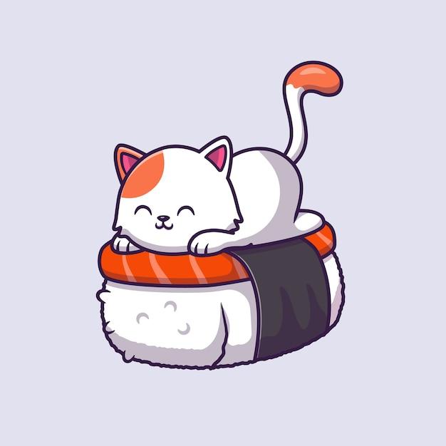 Illustrazione sveglia di vettore del fumetto del salmone dei sushi del gatto. Vettore gratuito