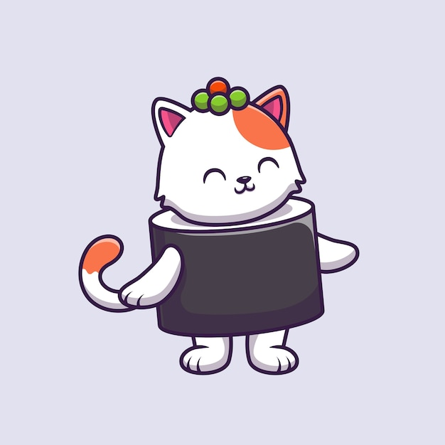 Cute cat sushi salmon cartoon vector  illustration. Free Vector