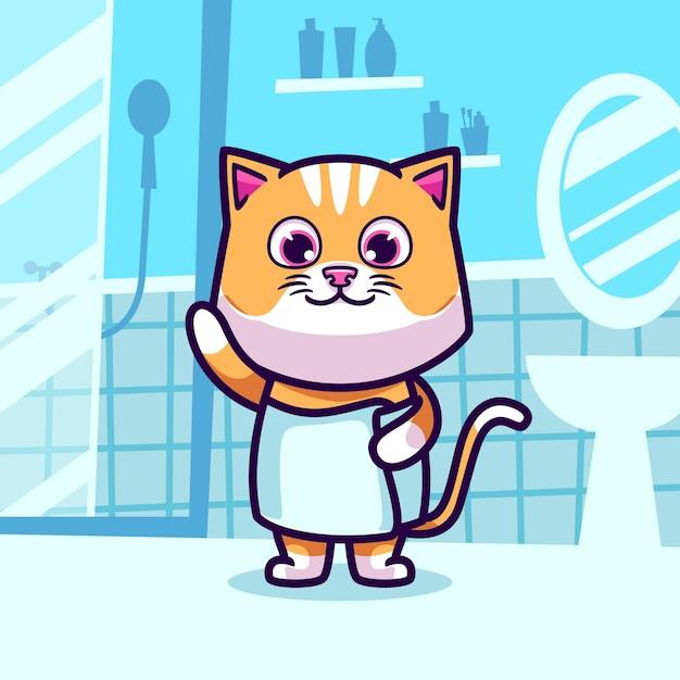 귀여운 고양이 목욕 만화 그림을 프리미엄 벡터