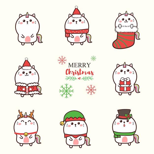 Cute cat unicorn cartoon hand drawn with christmas theme. Premium Vector