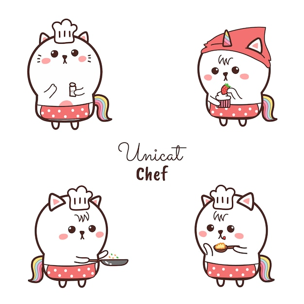 Милый кот единорог шеф-повар мультфильм рисованной и сладкий логотип color.cooking. Premium векторы