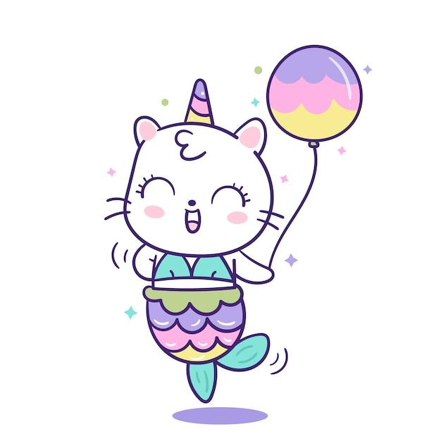 Cute cat unicorn mermaid vector holding balloon Premium Vector