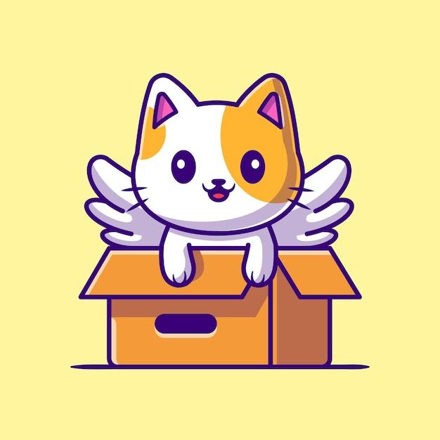 Милый кот единорог играть в коробке иллюстрации шаржа. Бесплатные векторы