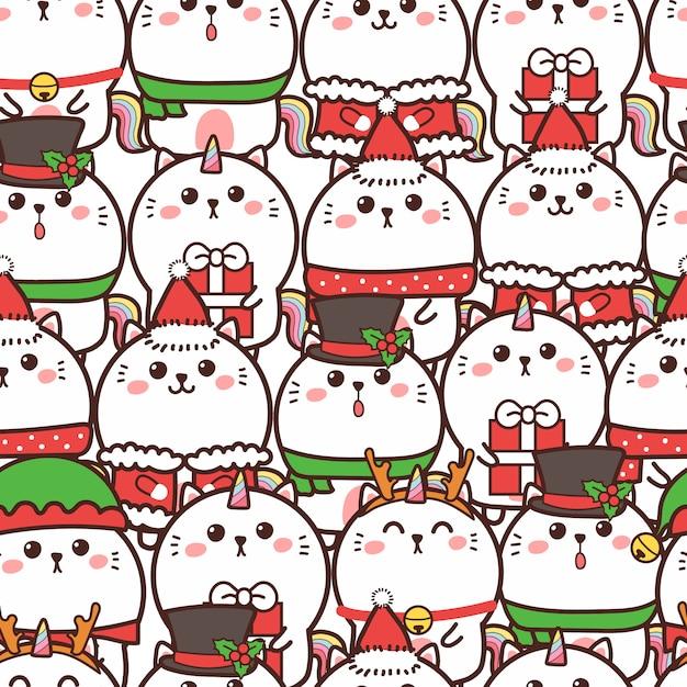 Симпатичный кот единорога бесшовный фон на рождество Premium векторы