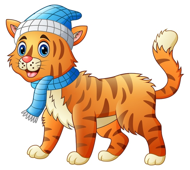 Cute cat wearing a red collar Premium Vector