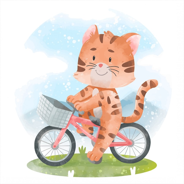 自転車でかわいい猫 Premiumベクター