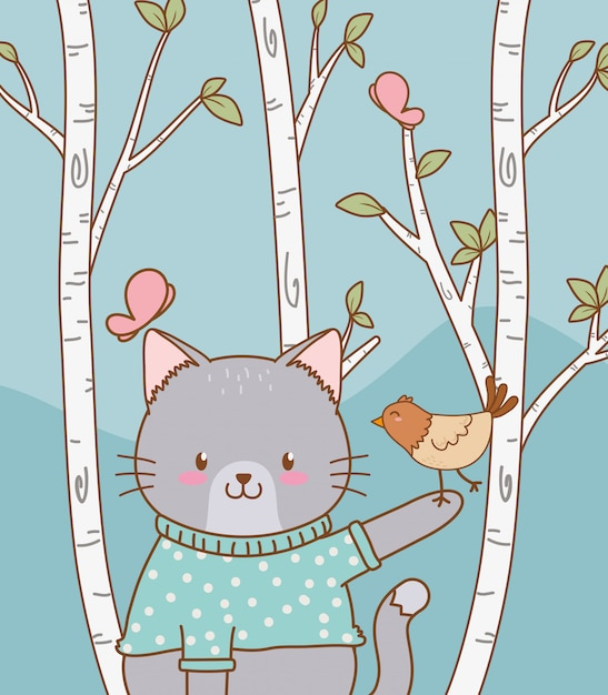 Cute cat with bird woodland character Premium Vector