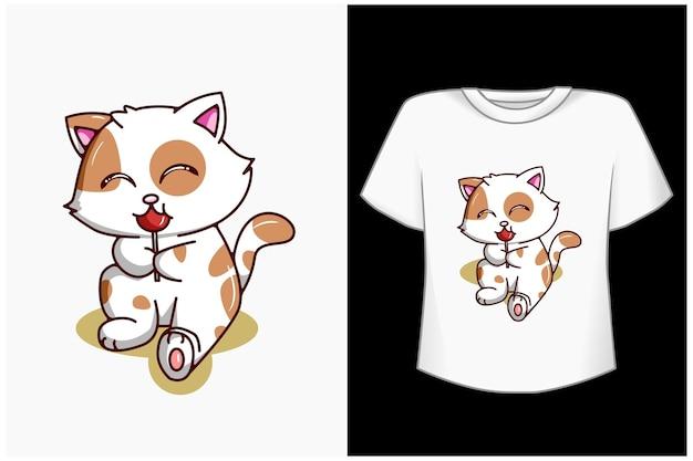 사탕 만화 일러스트와 함께 귀여운 고양이 프리미엄 벡터