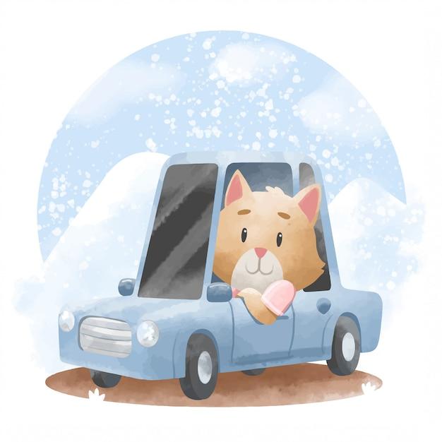 車のイラストがかわいい猫 Premiumベクター