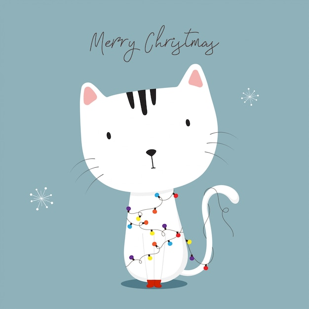 Cute Cat With Christmas Lights Happy Holidays Greeting Card