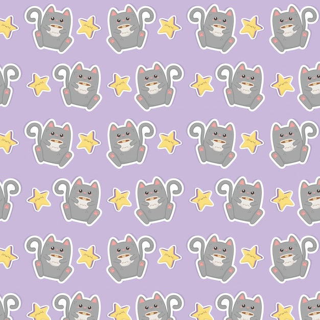 Cute cat with coffee kawaii characters pattern Premium Vector