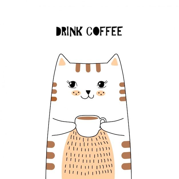 Cute cat with coffee. Premium Vector