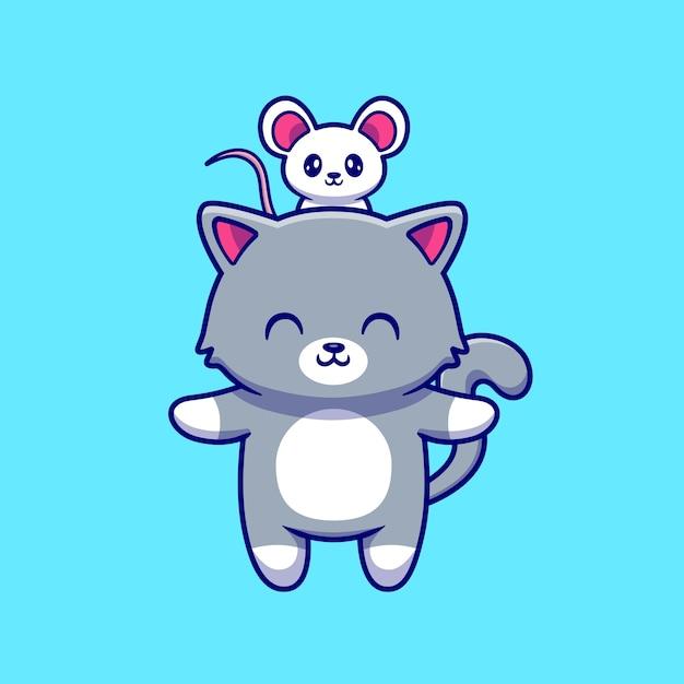 Cute cat with cute mouse cartoon vector  illustration. Premium Vector