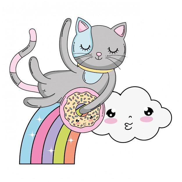 Cute cat with donut in rainbow | Premium Vector