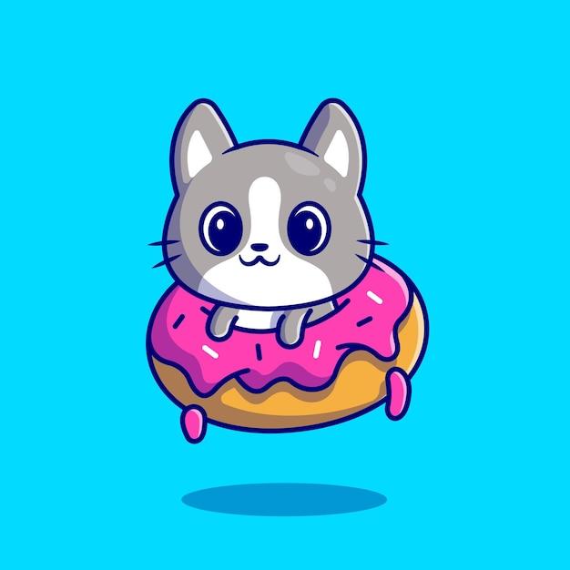 Cute cat with doughnut. flat cartoon style Free Vector