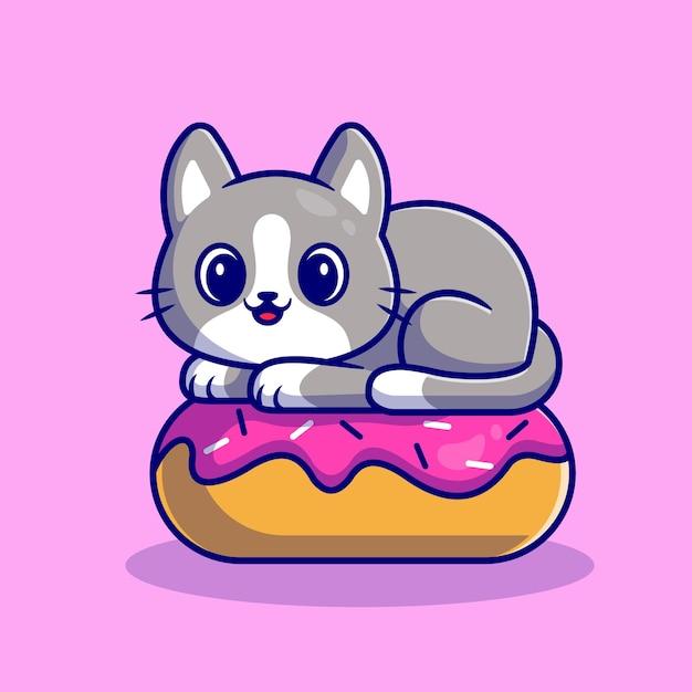 Gatto sveglio con la ciambella. stile cartone animato piatto Vettore gratuito