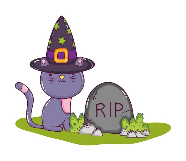 Cute cat with hat and rip stone Premium Vector