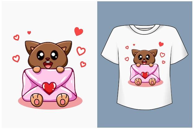 Милый кот с любовным письмом иллюстрации шаржа Premium векторы