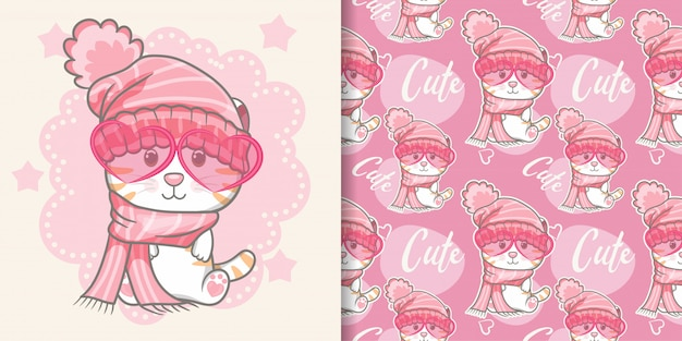 Cute cat with pink seamless pattern Premium Vector