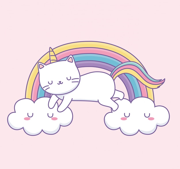 Cute cat with rainbow tail on the clouds kawaii character Premium Vector
