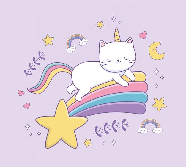 Cute cat with rainbow tail kawaii character Premium Vector