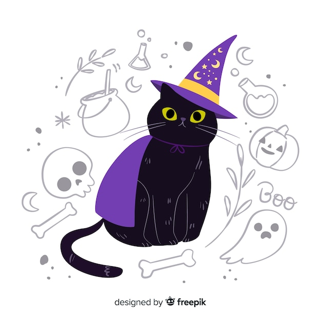 Free Vector Cute Cat With Yellow Eyes And Witch Hat