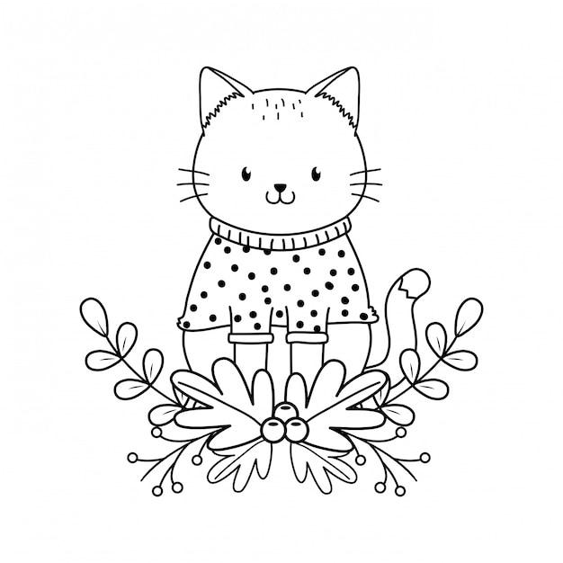 Cute cat woodland character Premium Vector