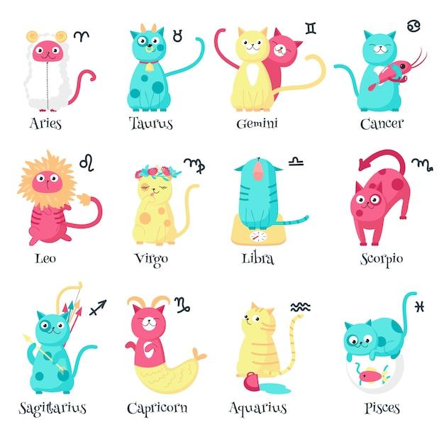 Cute cat zodiac signs,   isolated illustration Premium Vector