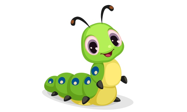 Download Free Cute Caterpillar Cartoon Vector Illustration Vector