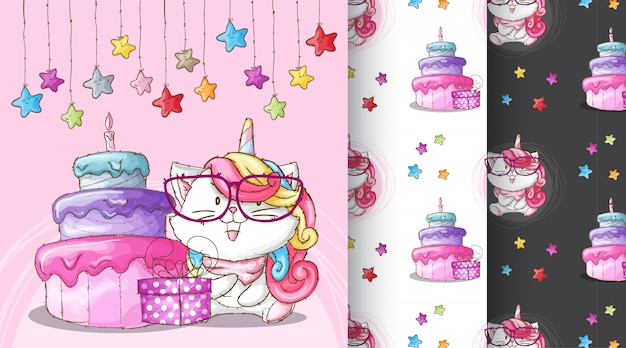 Cute caticorn birthday party pattern illustration Premium Vector