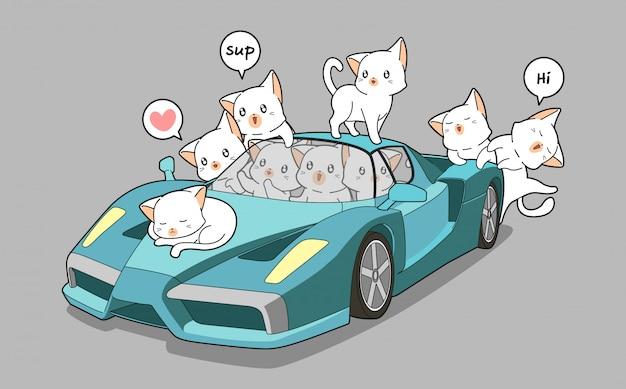 Cute cats and blue super car Premium Vector
