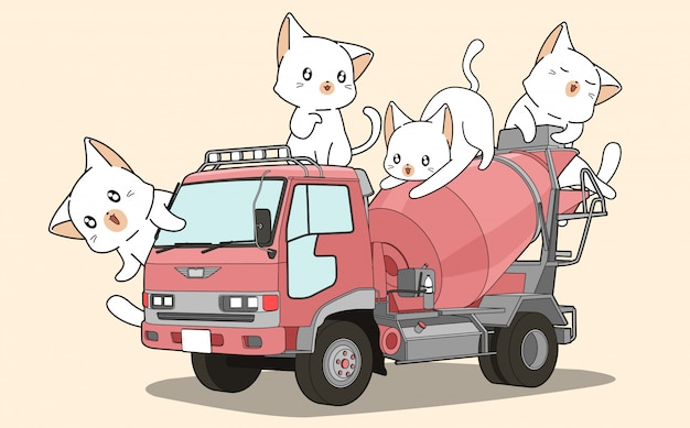 Cute cats on cement mixer truck Premium Vector
