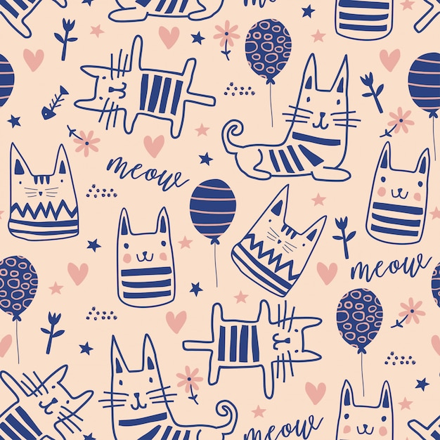 Cute cats doodle seamless pattern with funny characters Premium Vector