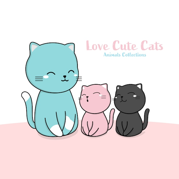 Cute cats family animal hand drawn style Premium Vector