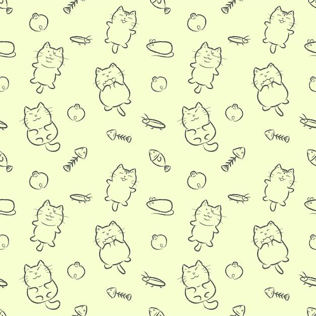 Cute cats hand drawn cartoon style seamless pattern. Premium Vector