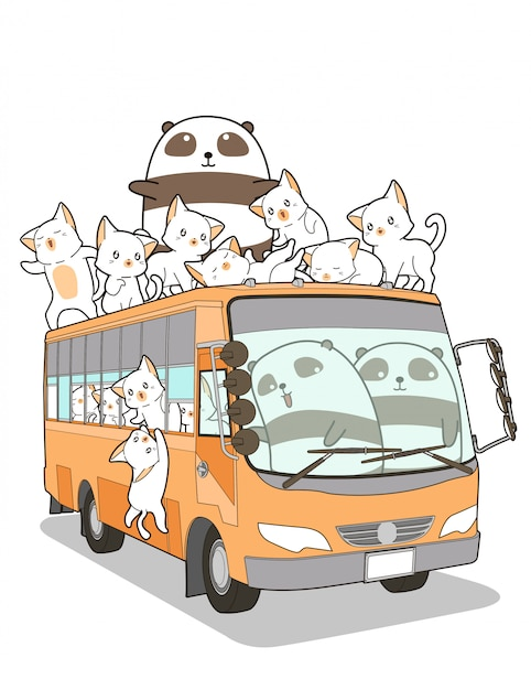 Cute cats and panda and bus in cartoon style. Premium Vector