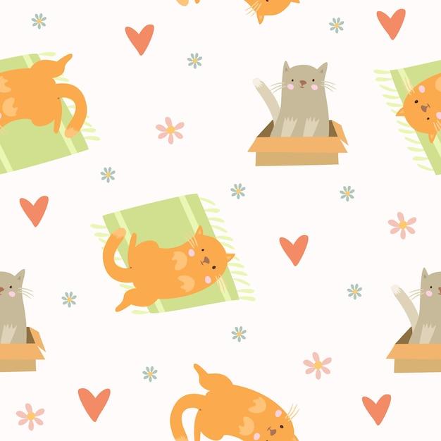 귀여운 고양이 패턴 무료 벡터