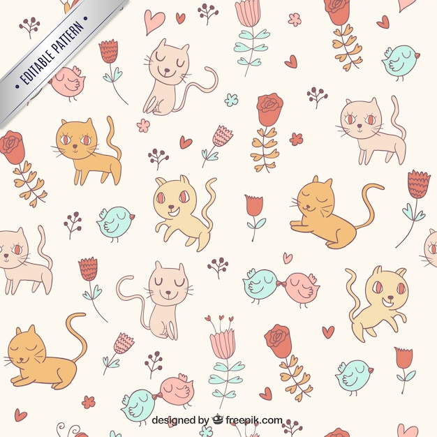Cute cats pattern Vector | Free Download