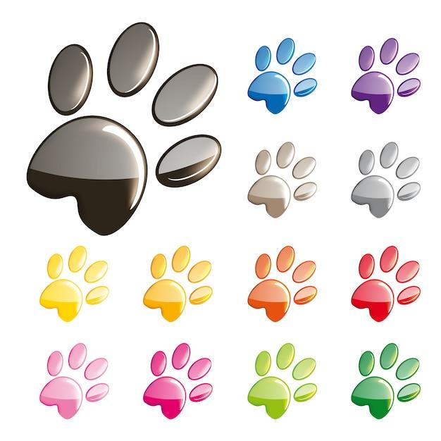 Симпатичные кошки лапы набор иконок Premium векторы