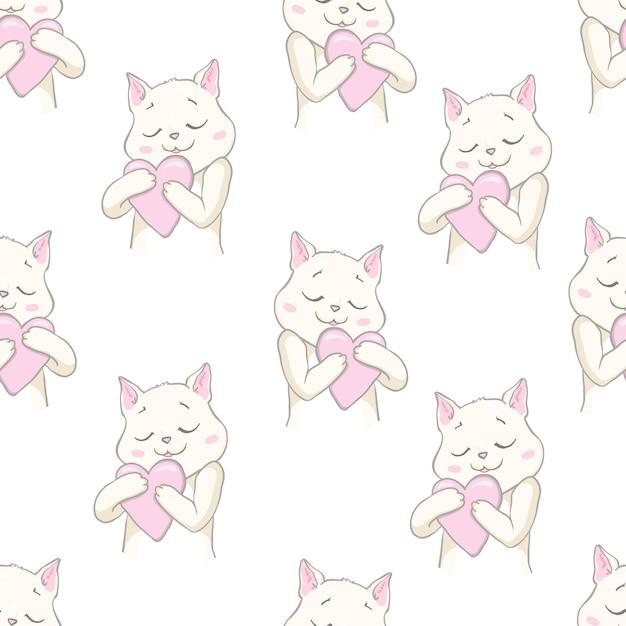 Cute cats pet seamless pattern Premium Vector