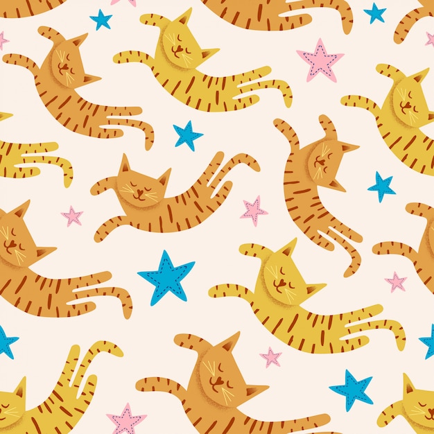 Cute cats seamless pattern with stars funny drawing of  kittens Premium Vector