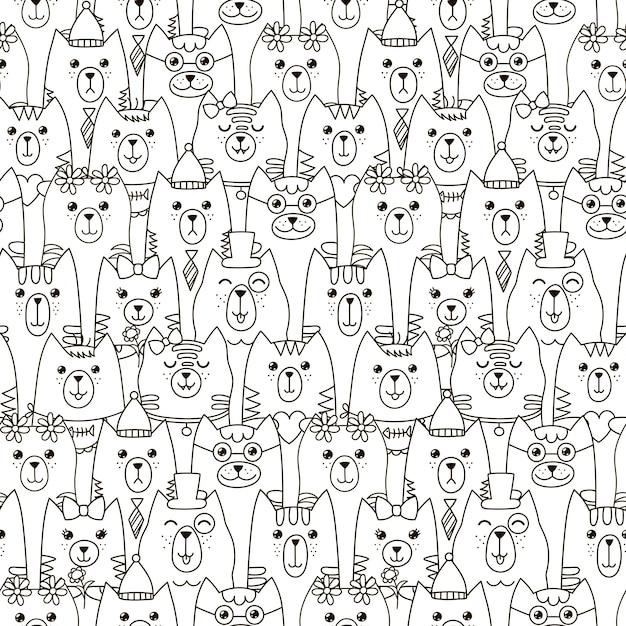 Cute cats seamless pattern. Premium Vector