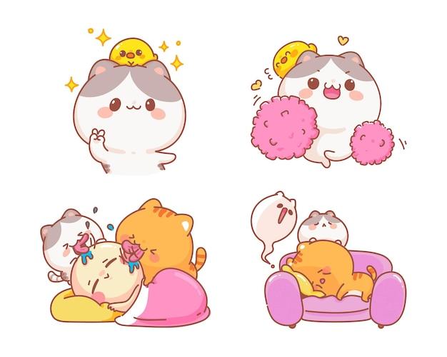 재미있는 캐릭터 만화 일러스트 레이 션의 귀여운 고양이 세트 무료 벡터