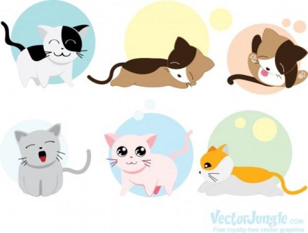 Cute cats sleeping animal vector