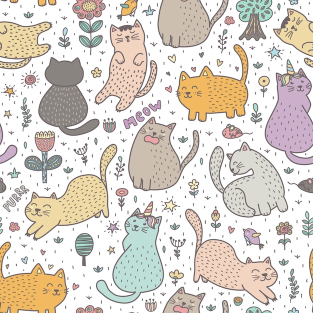 Cute cats in the summer seamless pattern Premium Vector
