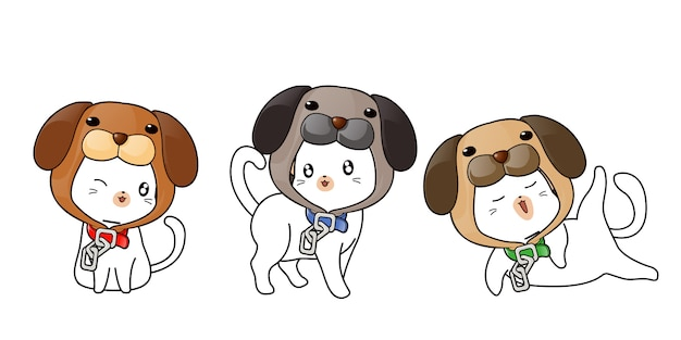 Cute cats wearing dog mask Premium Vector