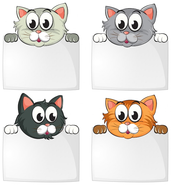 cute cats with blank papers vector free download. Black Bedroom Furniture Sets. Home Design Ideas