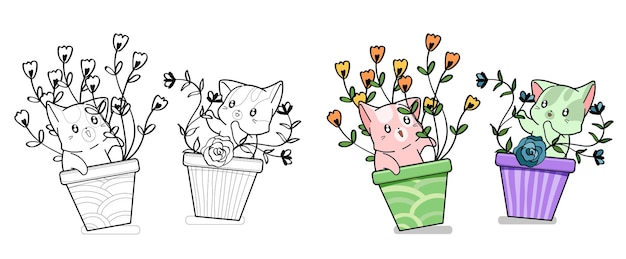 Cute cats with flowers cartoon coloring page for kids Premium Vector