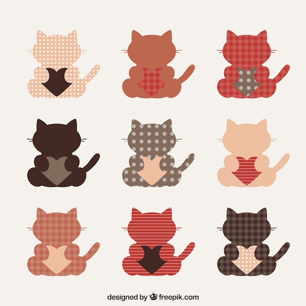 Cute cats with hearts pack Free Vector